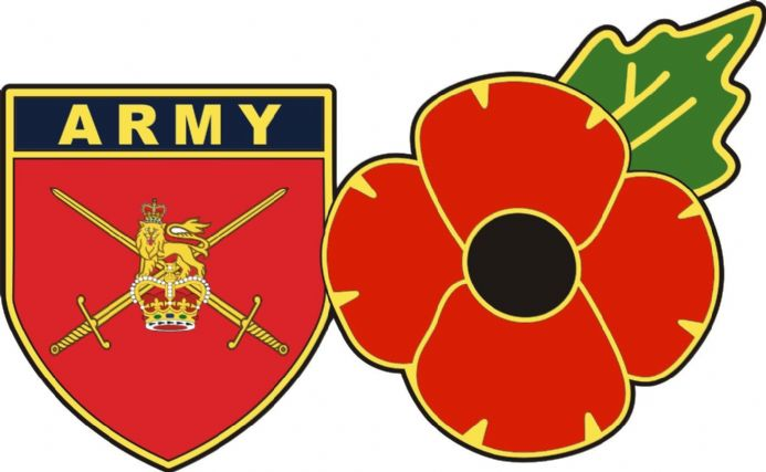 British Army Flag Shield and Poppy Car Sticker Decal